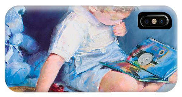 Boy With Train Phone Case by Beverly Amundson