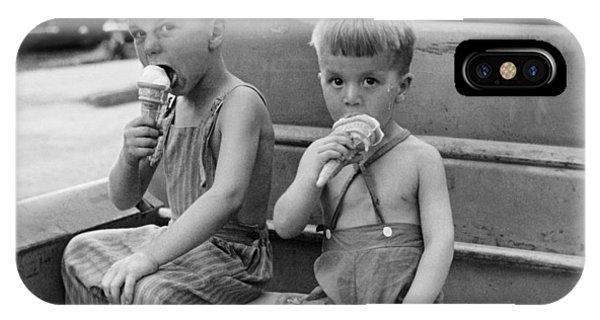 Ice Cream iPhone Case - Boys Eating Ice Cream Cones by John Vachon