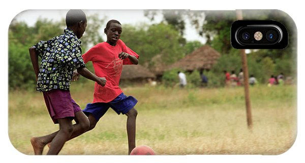 Boys Playing Football Phone Case by Mauro Fermariello/science Photo Library