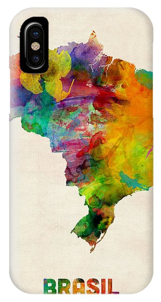 Print iPhone Case - Brazil Watercolor Map by Michael Tompsett