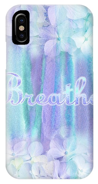 Breathe Refreshing Hydrangea Turquoise Purple Watercolor IPhone Case