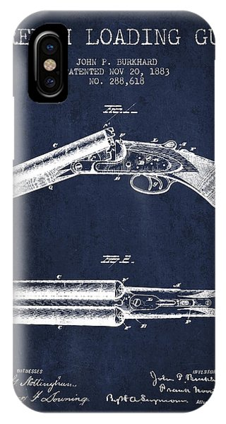 Weapons iPhone Case - Breech Loading Gun Patent Drawing From 1883 - Navy Blue by Aged Pixel