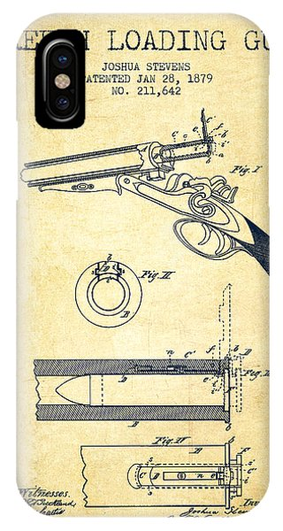 Breech Loading Shotgun Patent Drawing From 1879 - Vintage IPhone Case