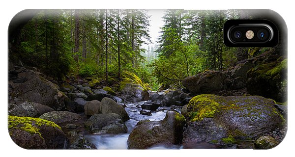 Creek iPhone Case - Bridge Below Rainier by Chad Dutson