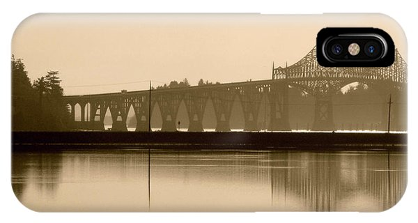 Bridge Reflection In Sepia IPhone Case