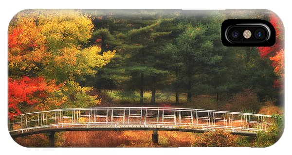 New England Fall Foliage iPhone Case - Bridge To Autumn by Karol Livote