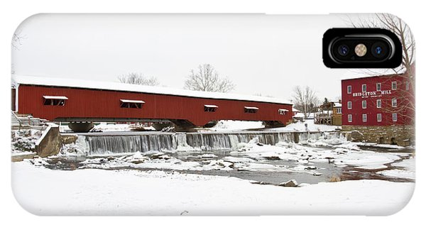 Bridgeton Covered Bridge In Winter IPhone Case