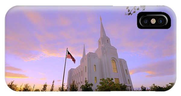 Temple iPhone Case - Brigham City Temple I by Chad Dutson