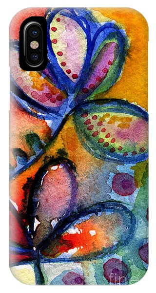 Wet iPhone Case - Bright Abstract Flowers by Linda Woods