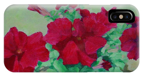 Red Flowers Art Brilliant Petunias Bright Floral  IPhone Case