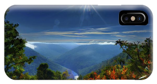 IPhone Case featuring the photograph Bright Sun In Morning Cheat River Gorge by Dan Friend