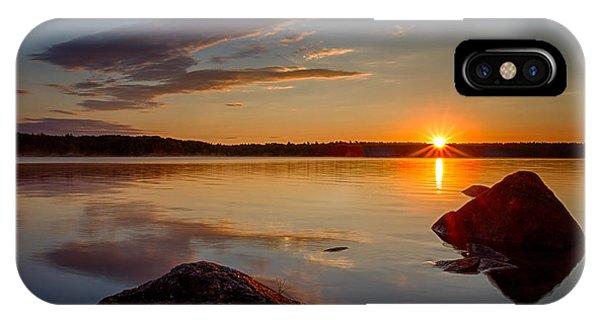 Brilliant Sunrise. Baxter Lake Nh IPhone Case