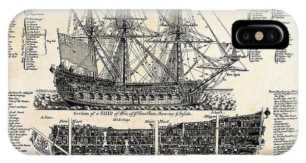 Schooner iPhone Case - British Ships Of War  1728 by Daniel Hagerman