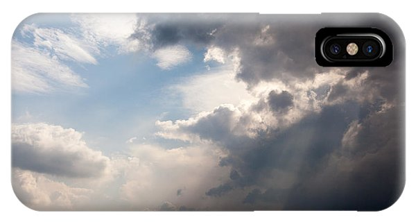 Broken Rain Clouds With Blue Sky And Sun Streaming Through Cloud IPhone Case