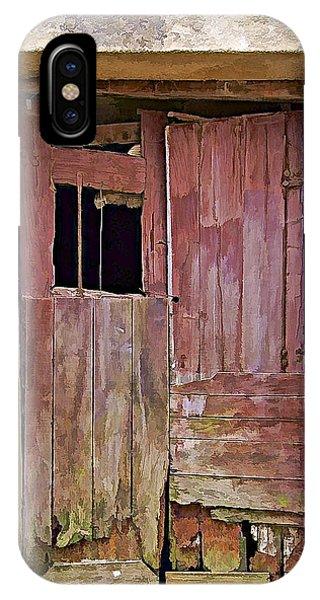 Broken Red Wood Door IPhone Case