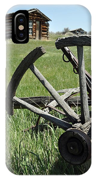 Broken Wagon Wheel And Log Building In Montana's Nevada City IPhone Case