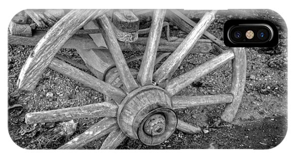 Broken Wagon Wheel In Black And White IPhone Case