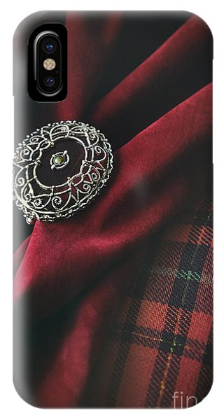Brooch With Red Velvet And Green Plaid IPhone Case