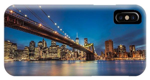 Hudson River iPhone Case - Brooklyn Bridge - Manhattan Skyline by Larry Marshall