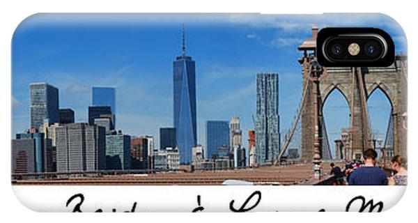 Brooklyn Bridge And Lower Manhattan Script IPhone Case
