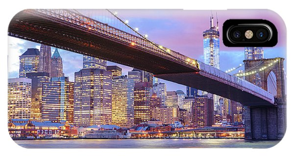 City Sunset iPhone Case - Brooklyn Bridge And New York City Skyscrapers by Vivienne Gucwa