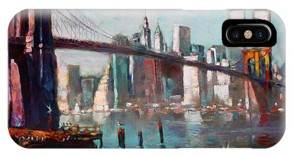 Seagull iPhone Case - Brooklyn Bridge And Twin Towers by Ylli Haruni