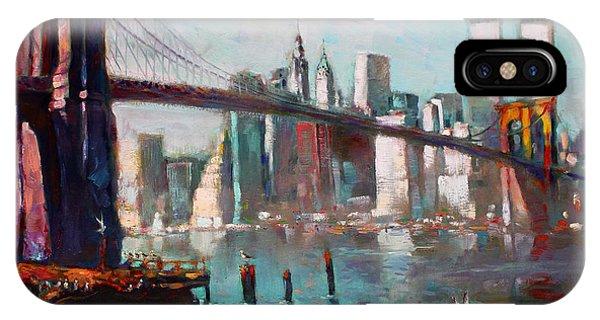 Seagull iPhone Case - Brooklyn Bridge And Twin Towers by Ylli Haruni