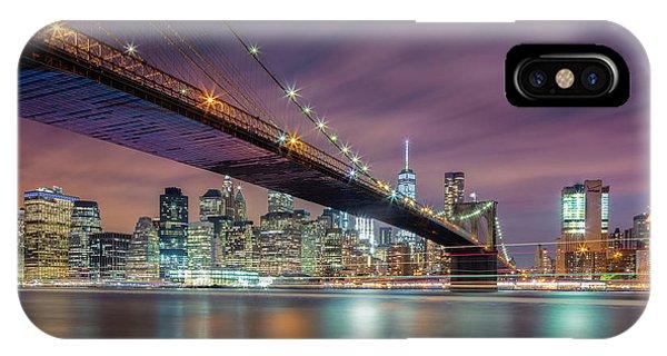 Long Exposure iPhone Case - Brooklyn Bridge At Night by Michael Zheng