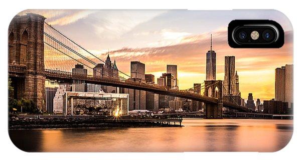 Bridge iPhone Case - Brooklyn Bridge At Sunset  by Mihai Andritoiu