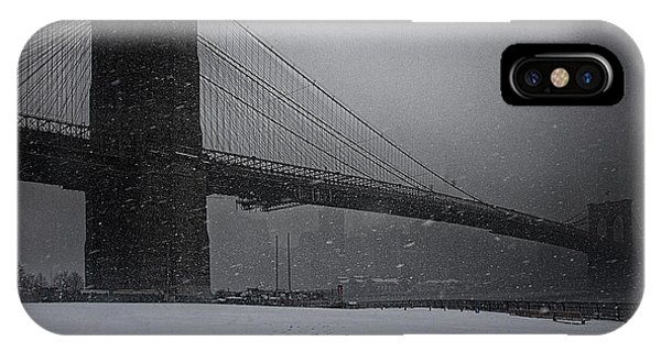 IPhone Case featuring the photograph Brooklyn Bridge Blizzard by Chris Lord