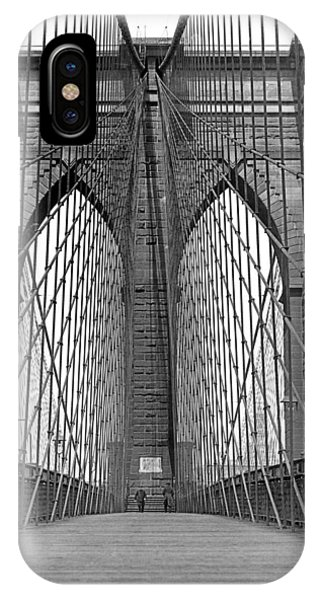Symmetry iPhone Case - Brooklyn Bridge Promenade by Underwood Archives