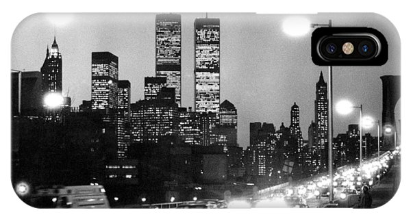Brooklyn Bridge Traffic II Dusk 1980s IPhone Case