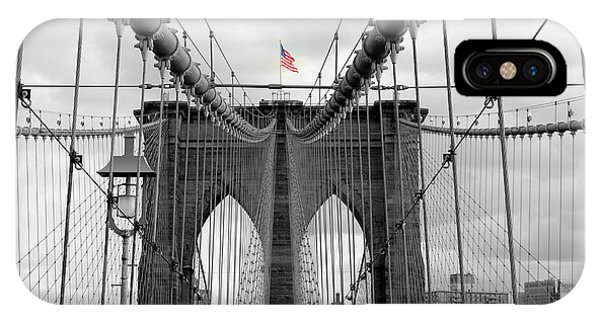 Brooklyn Bridge With American Flag IPhone Case