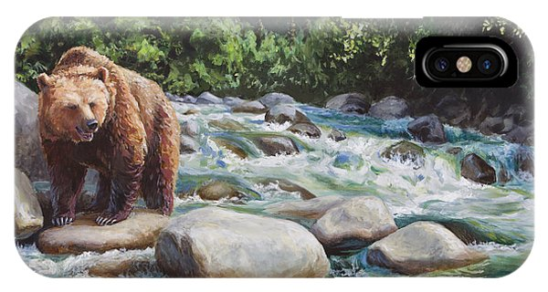 Brown Bear And Salmon On The River - Alaskan Wildlife Landscape IPhone Case