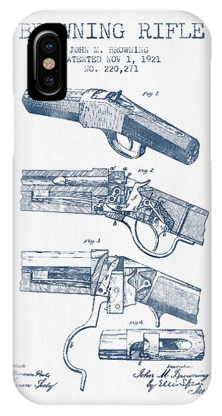Weapons iPhone Case - Browning Rifle Patent Drawing From 1921 -  Blue Ink by Aged Pixel