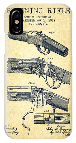 Weapons iPhone Case - Browning Rifle Patent Drawing From 1921 - Vintage by Aged Pixel