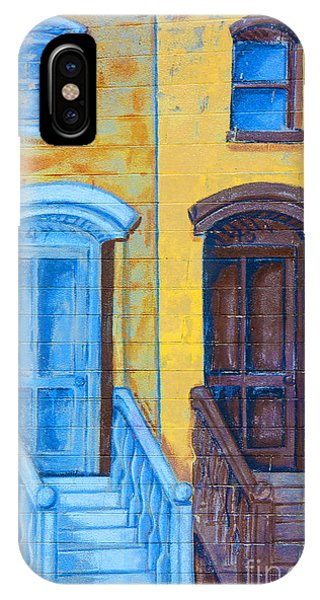 Brownstone iPhone Case - Brownstone Mural Art by Regina Geoghan