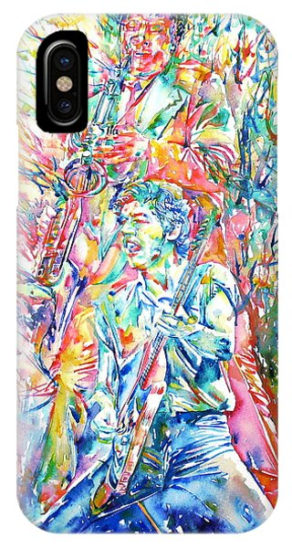 Bruce Springsteen And Clarence Clemons Watercolor Portrait IPhone Case