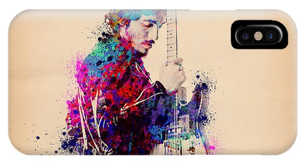 Rock And Roll Art iPhone Case - Bruce Springsteen Splats And Guitar by Bekim M