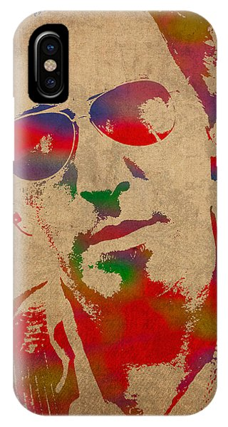 Watercolor iPhone Case - Bruce Springsteen Watercolor Portrait On Worn Distressed Canvas by Design Turnpike