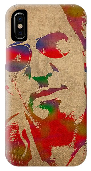 Musicians iPhone X Case - Bruce Springsteen Watercolor Portrait On Worn Distressed Canvas by Design Turnpike