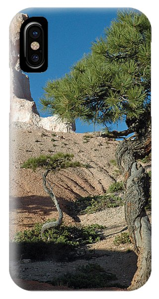 Bryce Canyon Rock Formation And Twisted Trees IPhone Case