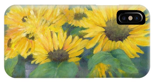 Bucket Of Sunflowers Colorful Original Painting Sunflowers Sunflower Art K. Joann Russell Artist IPhone Case