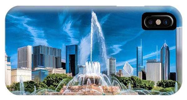 Buckingham Fountain Skyline Panorama IPhone Case