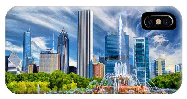 Buckingham Fountain Chicago Skyscrapers IPhone Case
