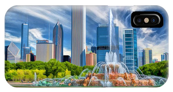 Buckingham Fountain Skyscrapers IPhone Case