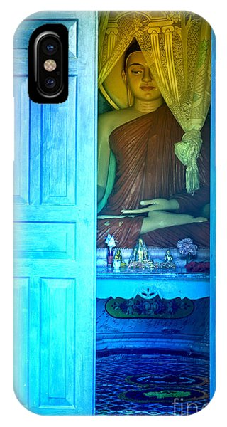 Tropes iPhone Case - Buddha Behind A Blue Door by Gina Koch