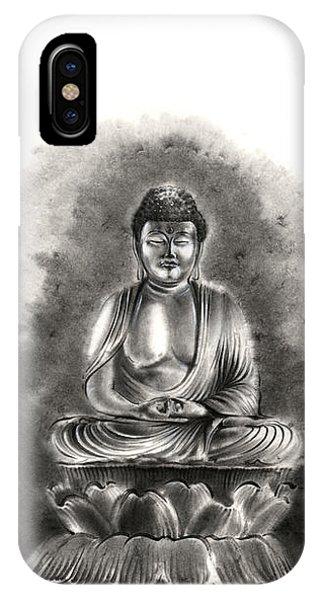 Buddhism iPhone Case - Buddha Buddhist Sumi-e Tibetan Calligraphy Original Ink Painting Artwork by Mariusz Szmerdt