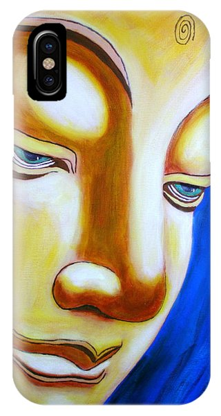IPhone Case featuring the painting Buddha Head Gazing Art by Bob Baker