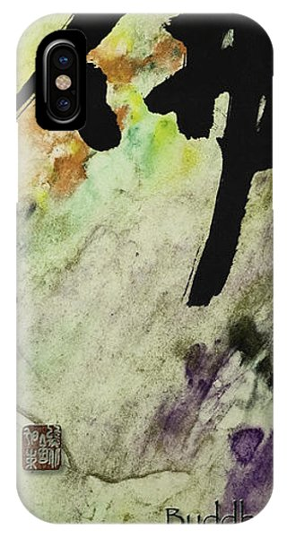 Siddharta iPhone Case - Buddha Ink Brush Calligraphy by Peter v Quenter